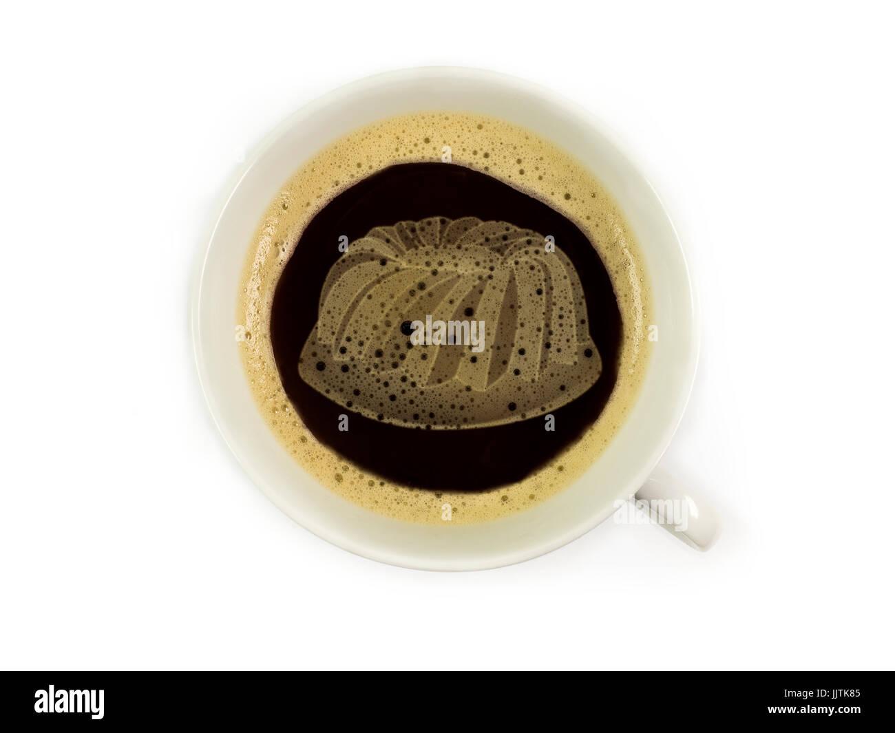 kuchen im Kaffeeschaum - Stock Image