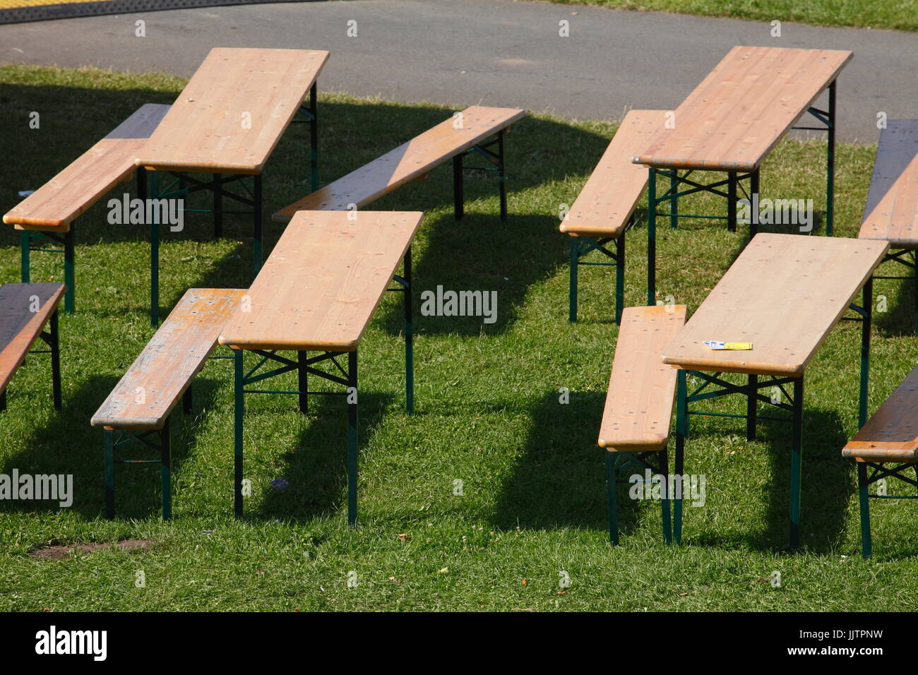 wooden folding tables and benches Stock Photo: 149291461 - Alamy