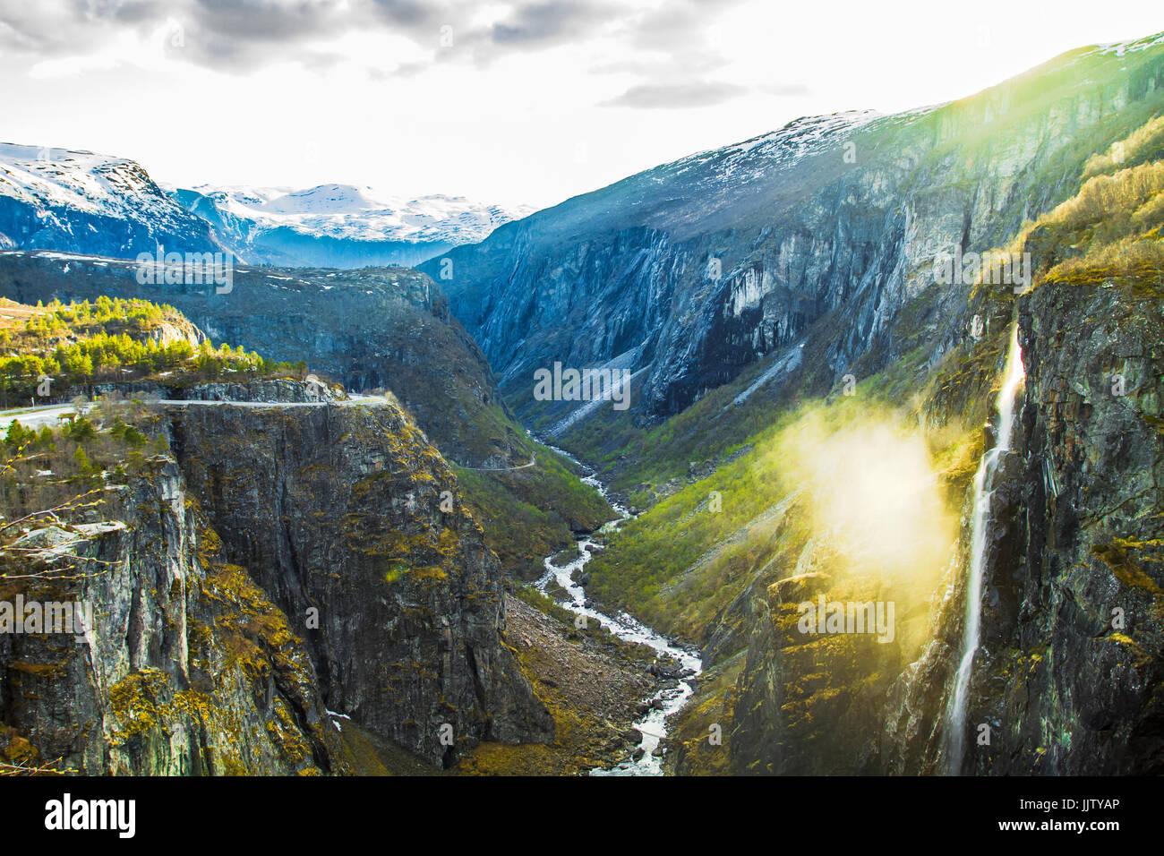 Voringsfossen Waterfall. Hordaland, Norway. - Stock Image