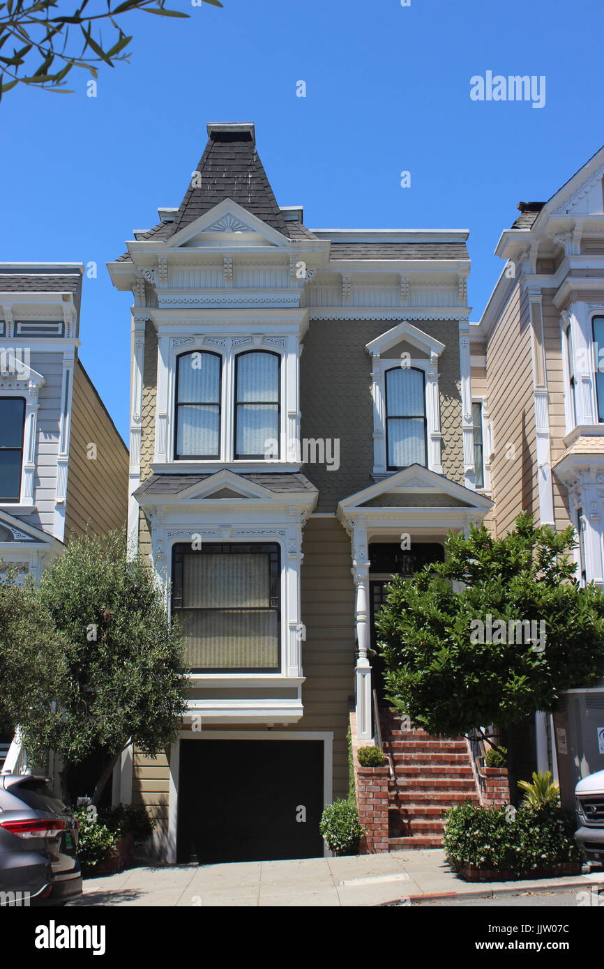 Stick-style House, built 1889-90, Japantown, Lower Pacific Heights, Upper Fillmore, San Francisco, California - Stock Image