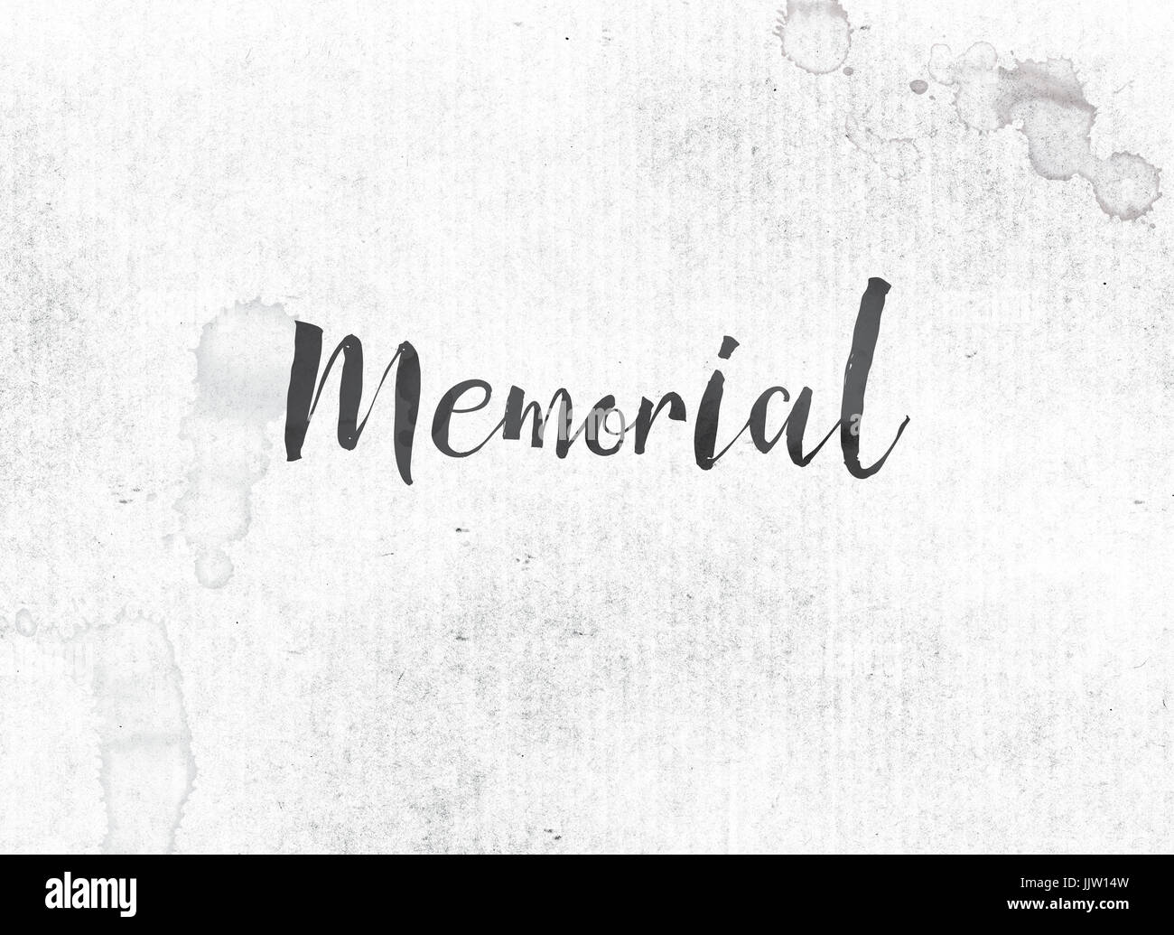 the word memorial concept and theme painted in black ink on a stock