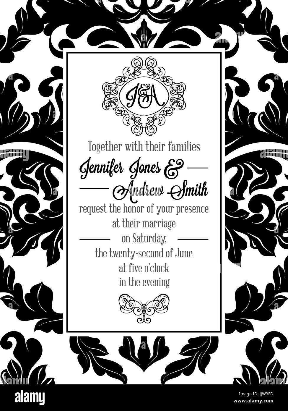 Vintage Delicate Formal Invitation Card With Black And White