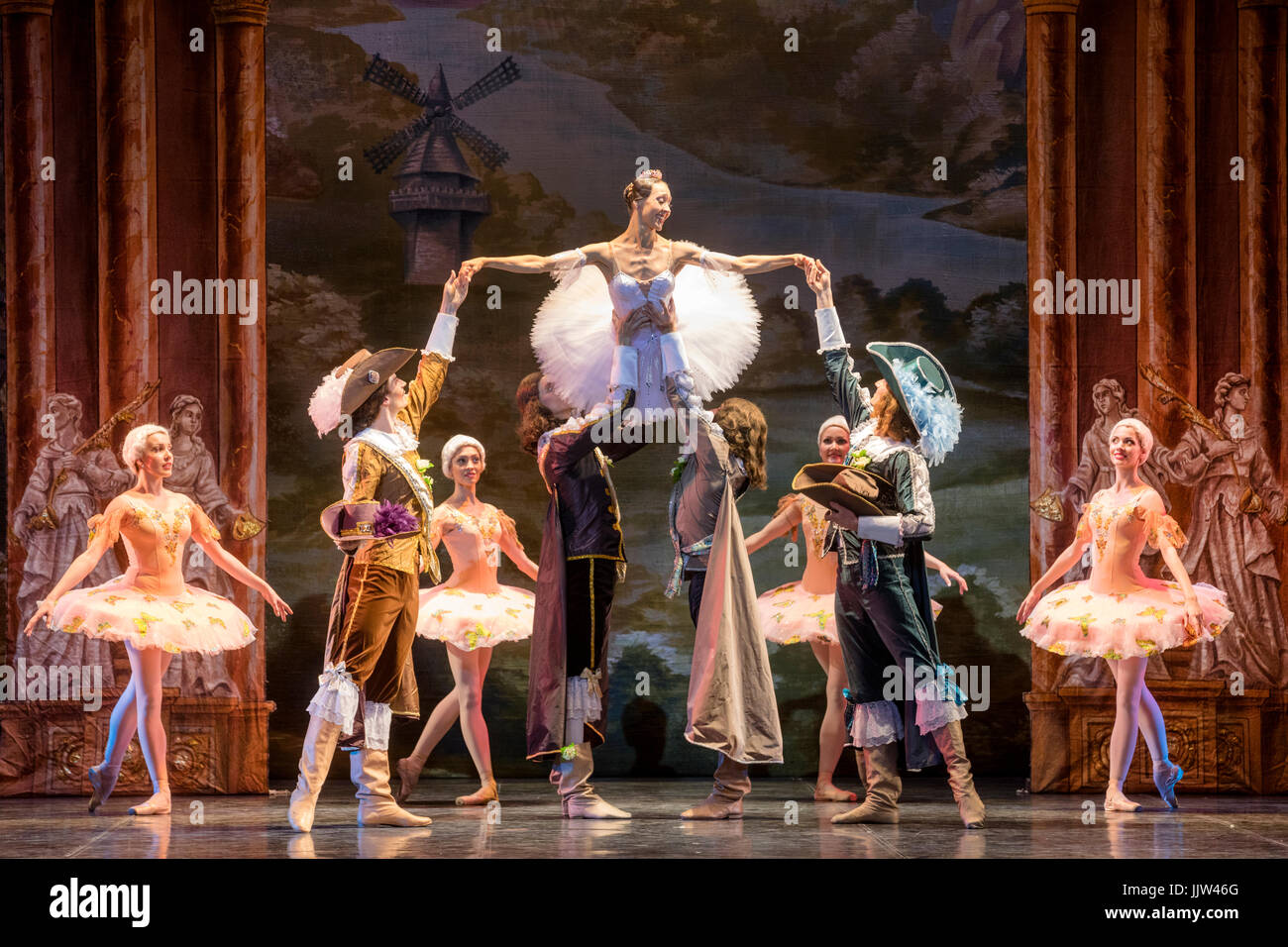 Scene from the ballet 'Sleeping Beauty' of the Ballet Theater of Classical Choreography of Elik Melikov - Stock Image