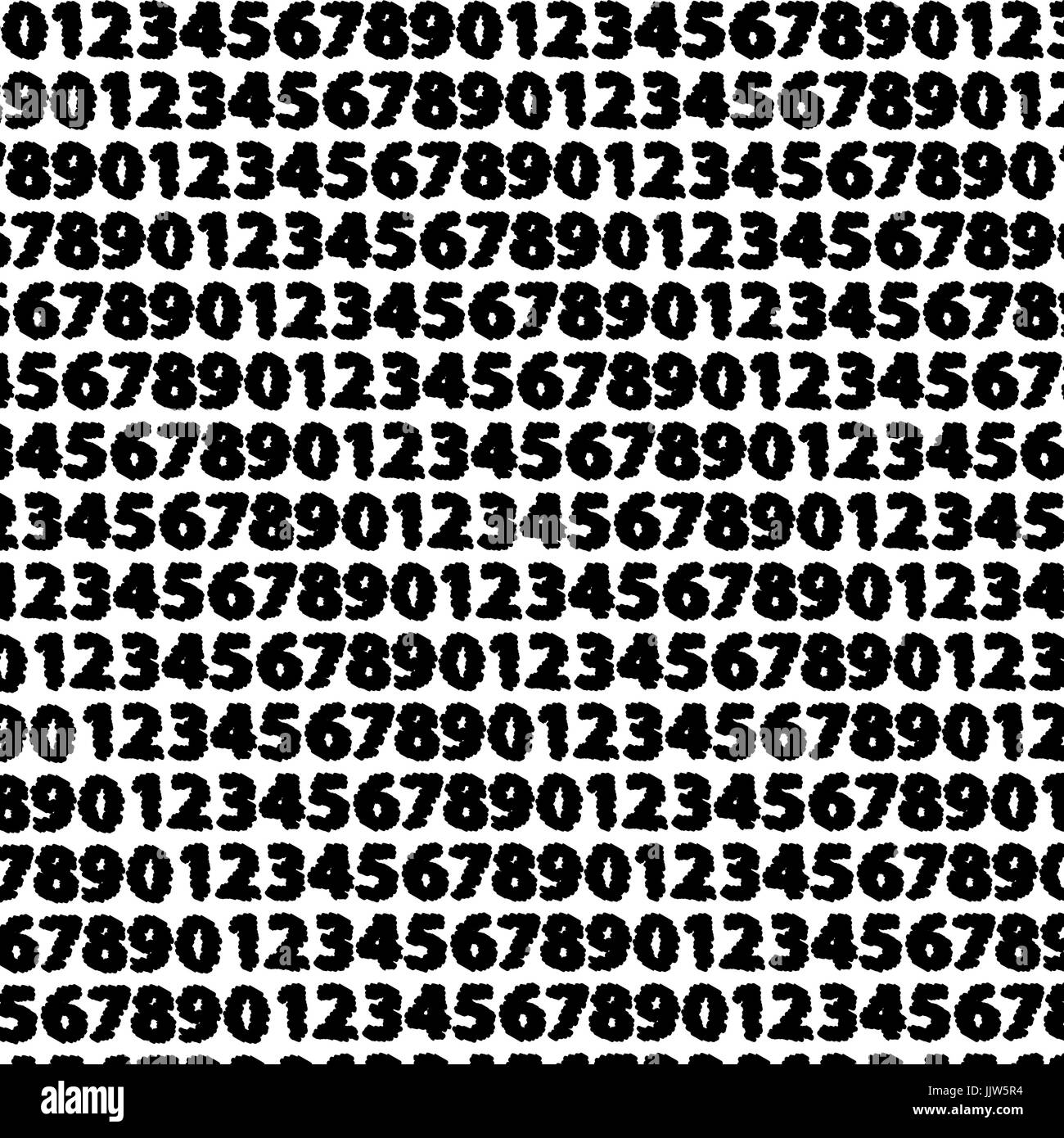 Arabic numeral vector pattern, Numbers black and white background, - Stock Image