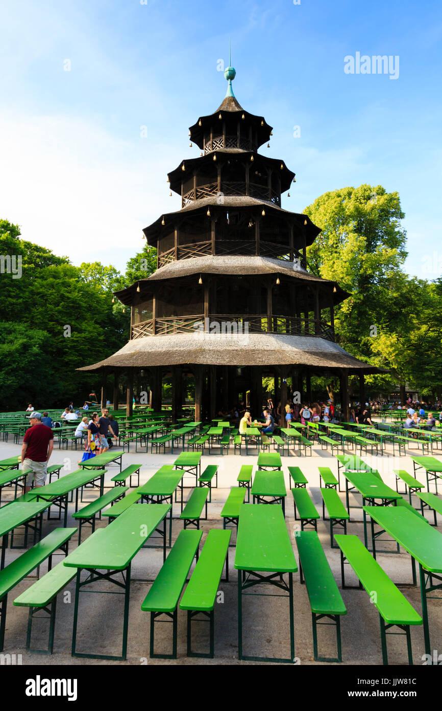 The Chinesischer Turm Biergarten Chinese Tower In The Englischer