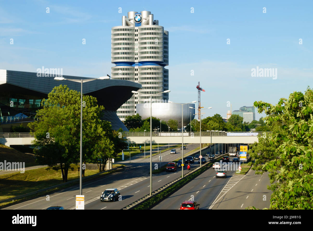 BMW Tower and BMW Welt buildings, Munich, Bavaria, Germany - Stock Image