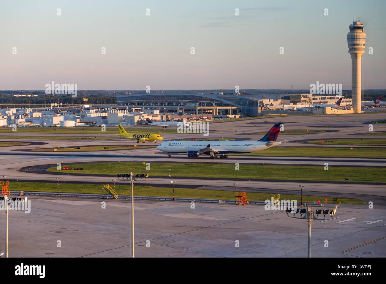 Delta and Spirit  in Atlanta Hartsfield Jackson Airport - Stock Image
