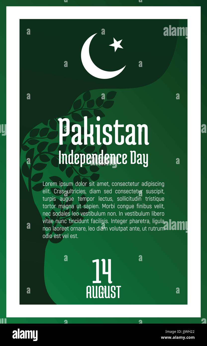 Pakistan Independence Day, August 14. Greeting card with oriental ornament, green leaves and symbol of Islam, star - Stock Vector