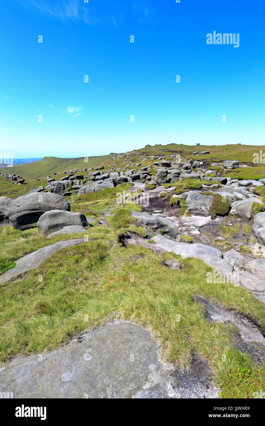 The Woolpacks on the southern edge of Kinder Scout, Derbyshire, Peak District National Park, England, UK - Stock Image