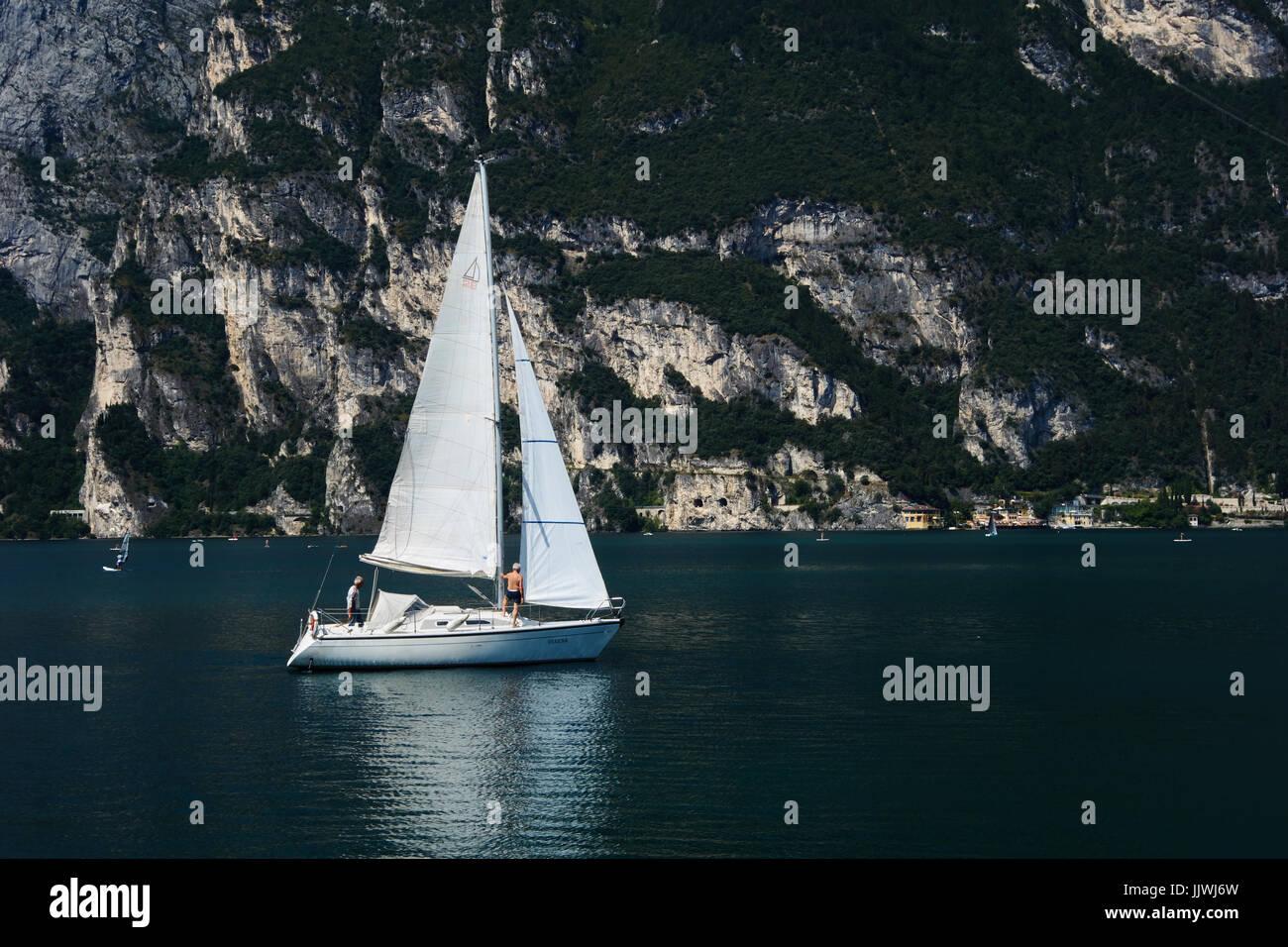 Private yacht on lake Garda. Italy - Stock Image