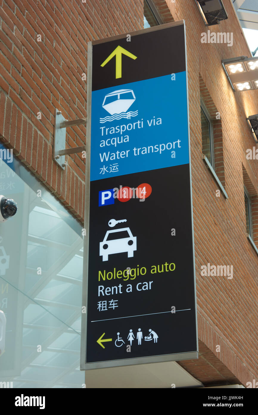 Rent A Car And Water Transport Sign Venice Airport Italy Stock