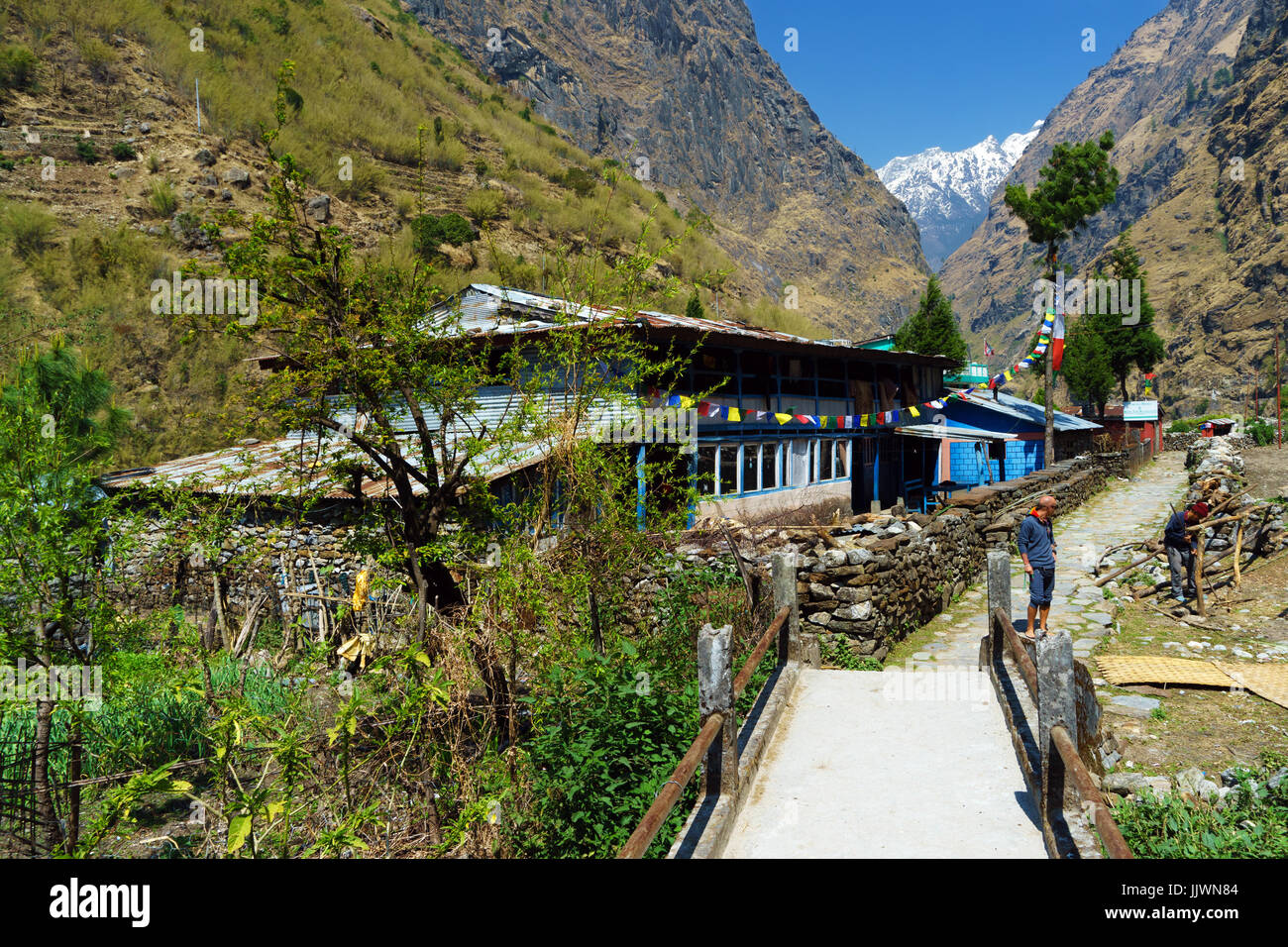 Guesthouse in the village of Tal, Annapurna region, Nepal. - Stock Image
