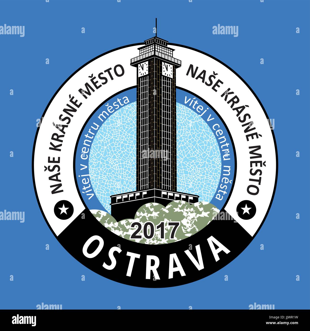 Ostrava (Polish Ostrawa, German Ostrau) is a statutory and university city in the northeast of the Czech Republic - Stock Vector