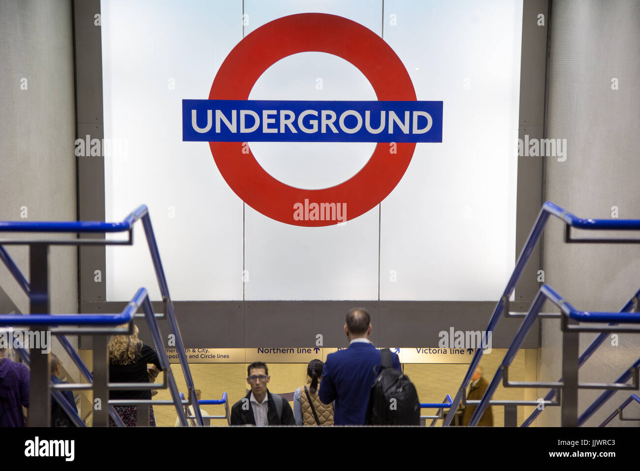London Underground large logo sign at the King's Cross St. Pancras entrance - Stock Image