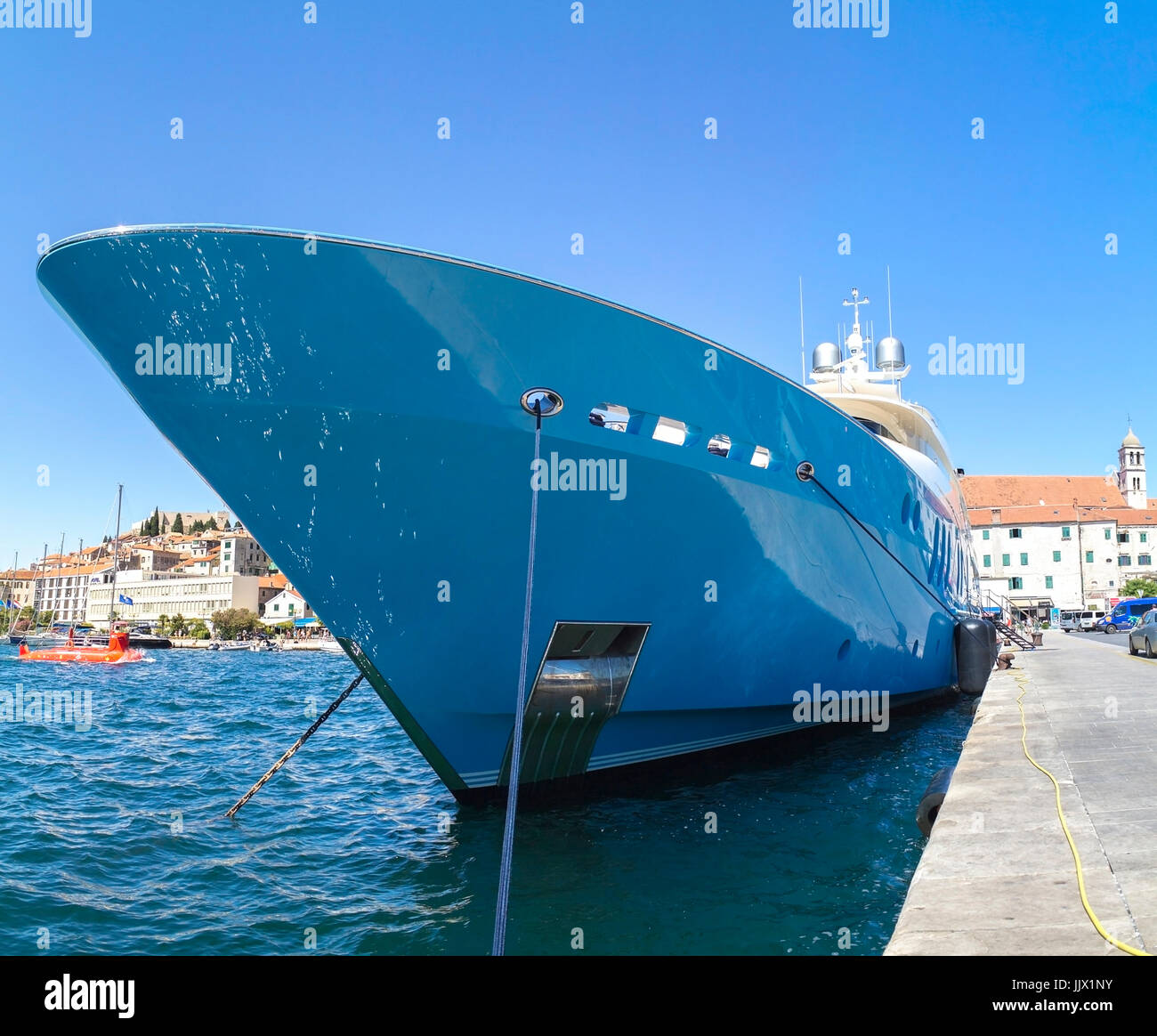 Luxury yacht on a sunny day in Croatia Stock Photo