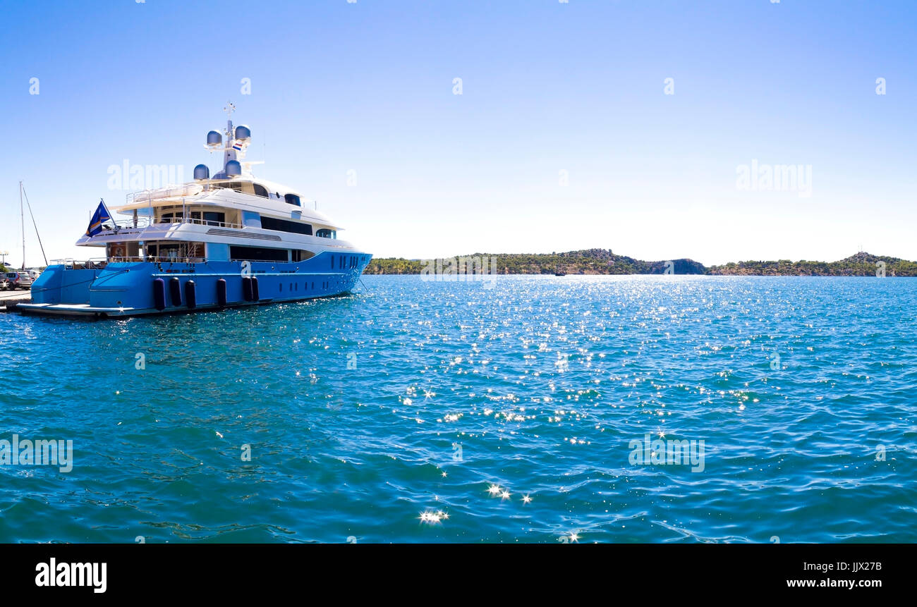 Luxury yacht on a sunny day in Croatia Stock Photo