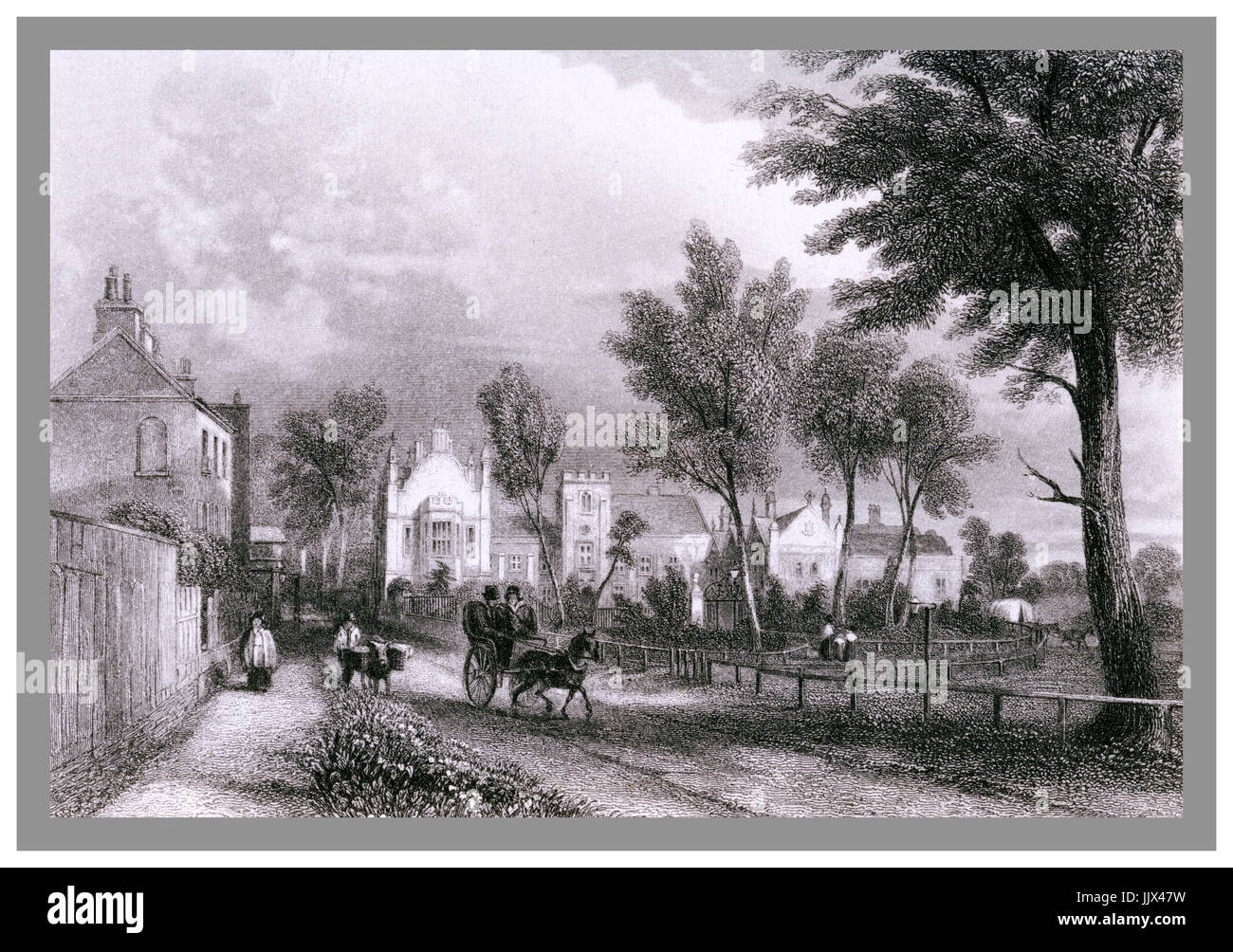 Vintage fine 1846 illustration of Dulwich College as it looked in the 1840s – a pony and trap on the road. Engraved - Stock Image
