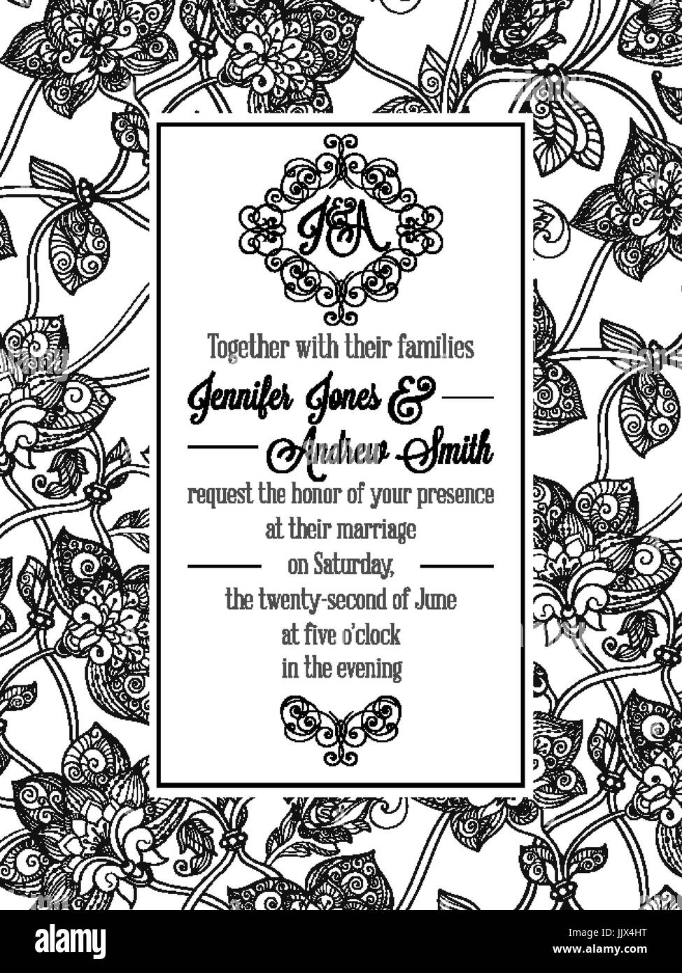 Vintage delicate formal invitation card with black and white lacy vintage delicate formal invitation card with black and white lacy design for wedding marriage bridal stopboris Images