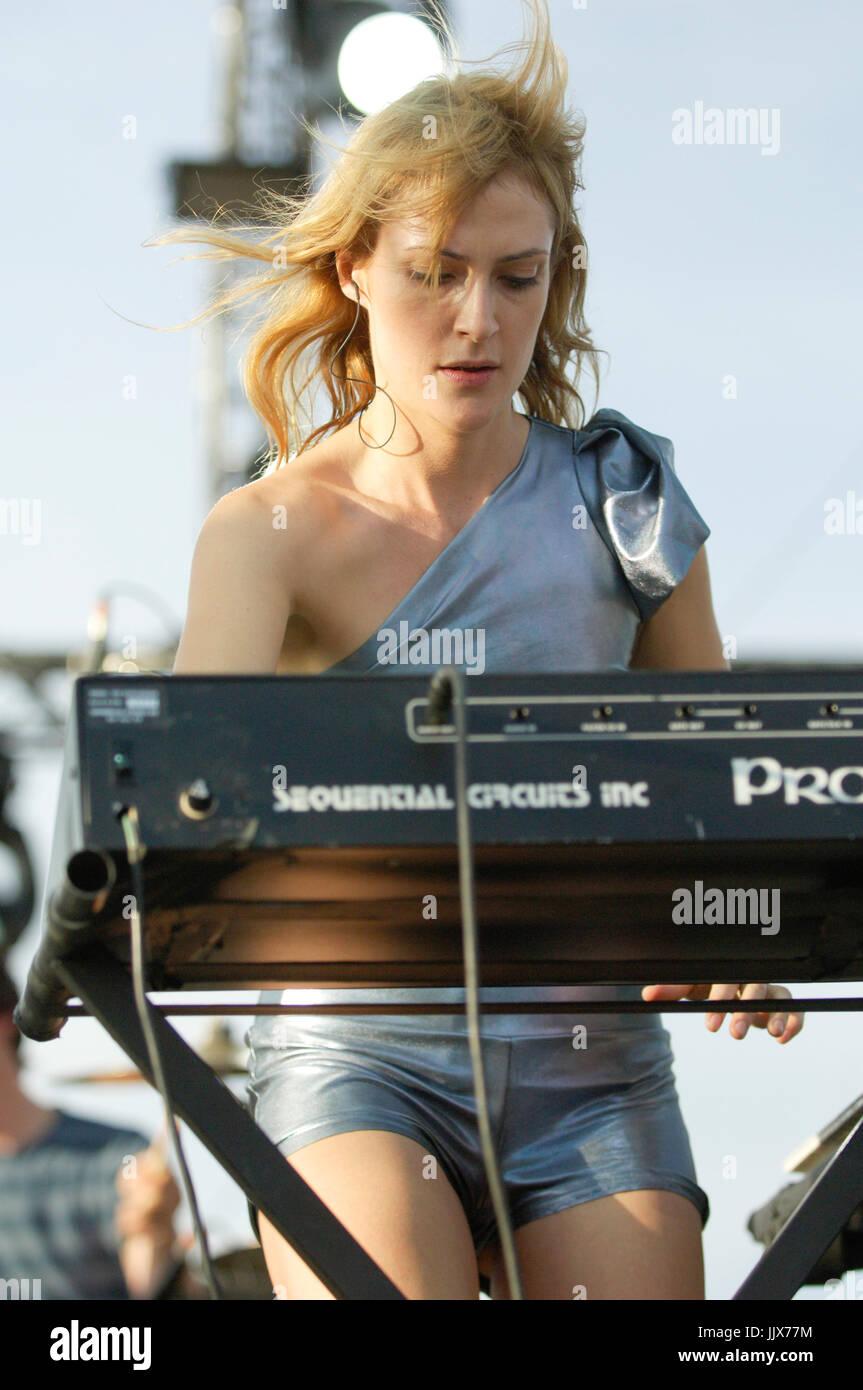 Emily Haines Metric performing 2008 Coachella Music Festival Indio. - Stock Image