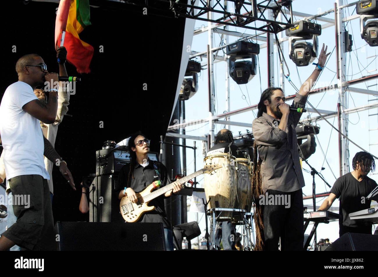 (L-R) Rapper Nas Damian Marley perform 2011 Coachella Music Festival March 17,2011 Indio. - Stock Image