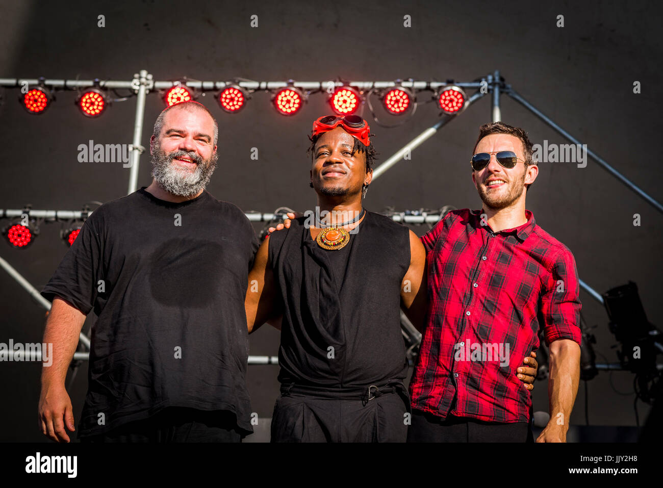 Blick Bassy and band taking a bow at the 40th Annual Vancouver Folk Music Festival, Vancouver, British Columbia, - Stock Image