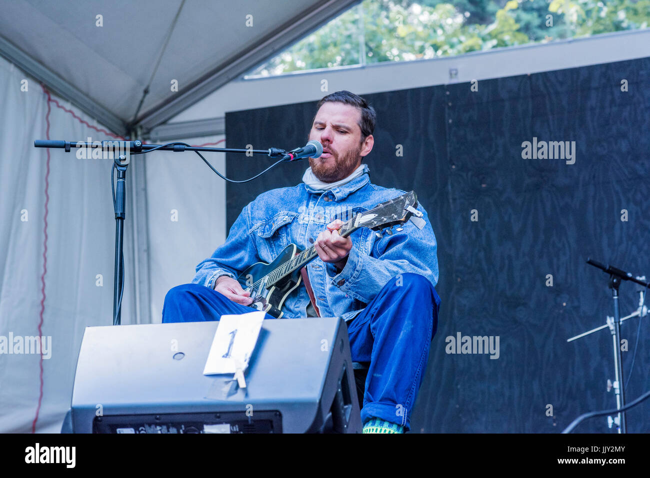 Bahamas plays at 40th Annual Vancouver Folk Music Festival, Vancouver, British Columbia, Canada. Stock Photo