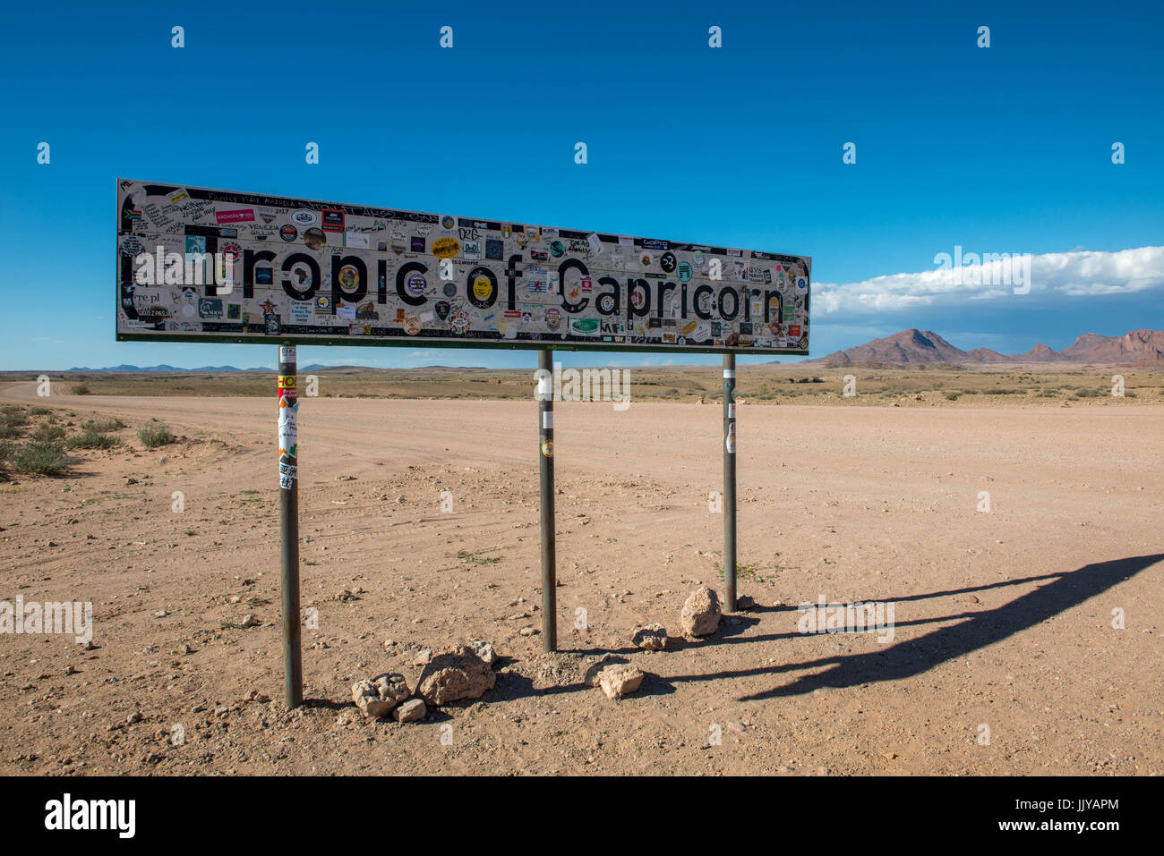 Tropic Of Capricorn On World Map.Tropic Of Capricorn Sign In The Namib Desert Located In Namibia