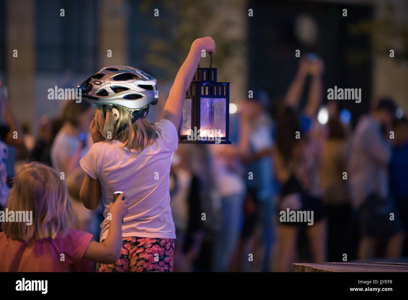 Poznan, Poland. 20th July, 2017. Children and youth on protest. Lights for judiciary - protest against violation - Stock Image