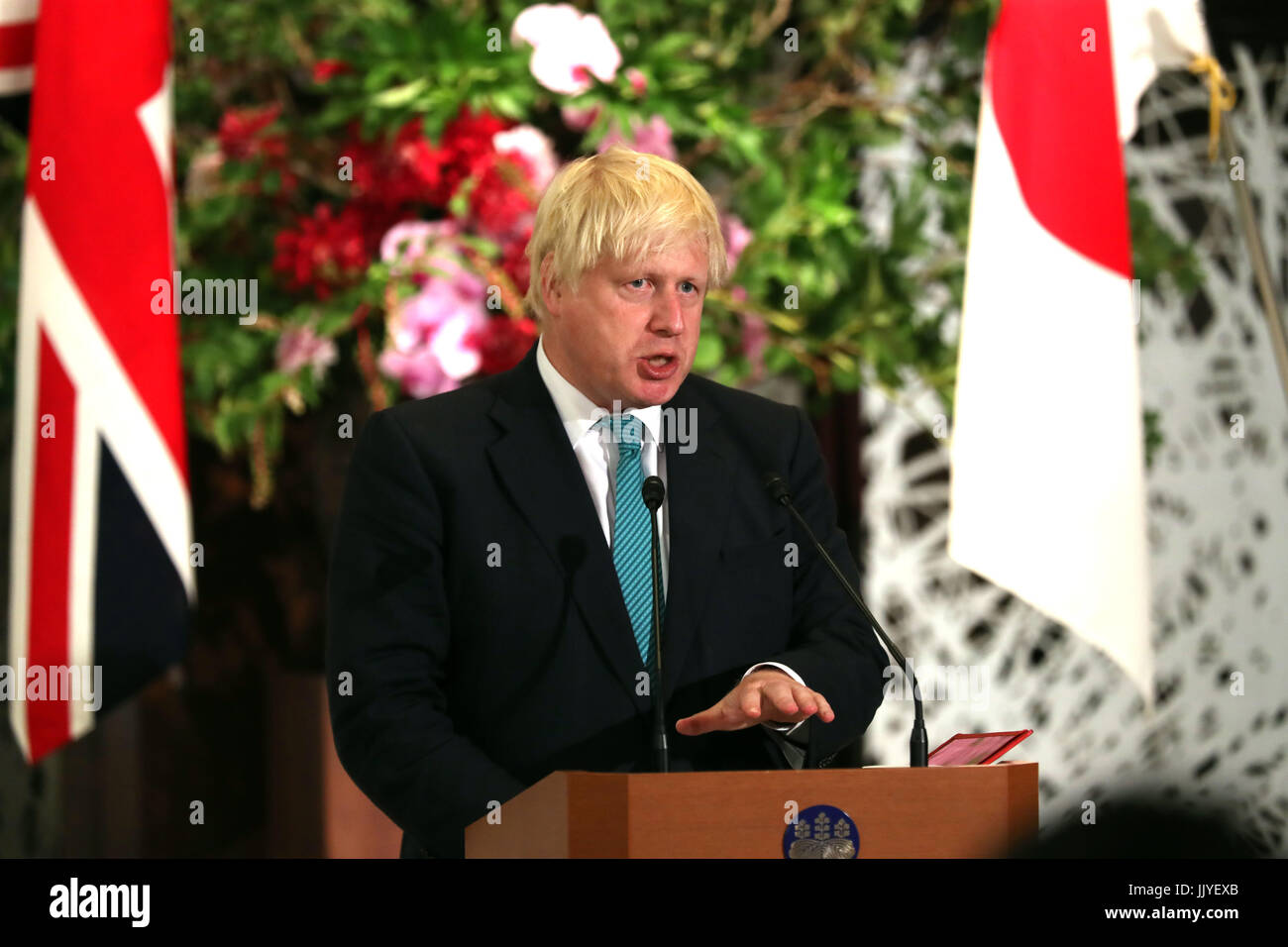 Tokyo, Japan. 21st July, 2017. British Foreign Secretary Boris Johnson delivers a statement with his Japanese counterpart - Stock Image