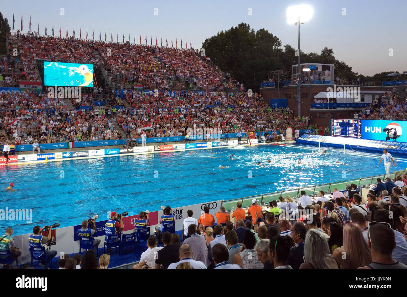 Budapest, Hungary. 19th July, 2017. A general view of the arena at the Alfréd Hajós Swimming premises, - Stock Image