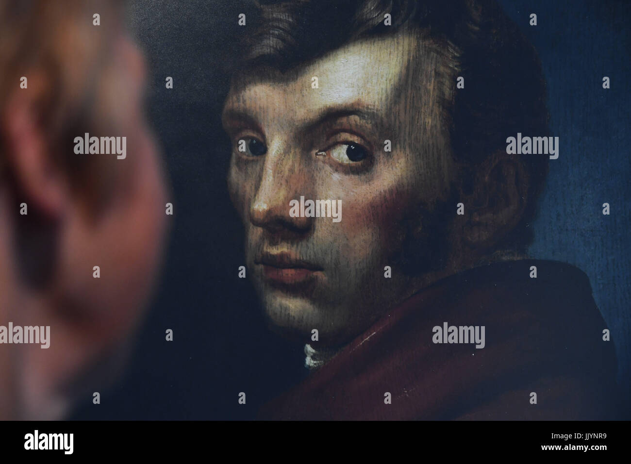 A picture of the self-portrait of the painter Philipp-Otto Runge can be seen at the Runge House in Wolgast, Germany, - Stock Image