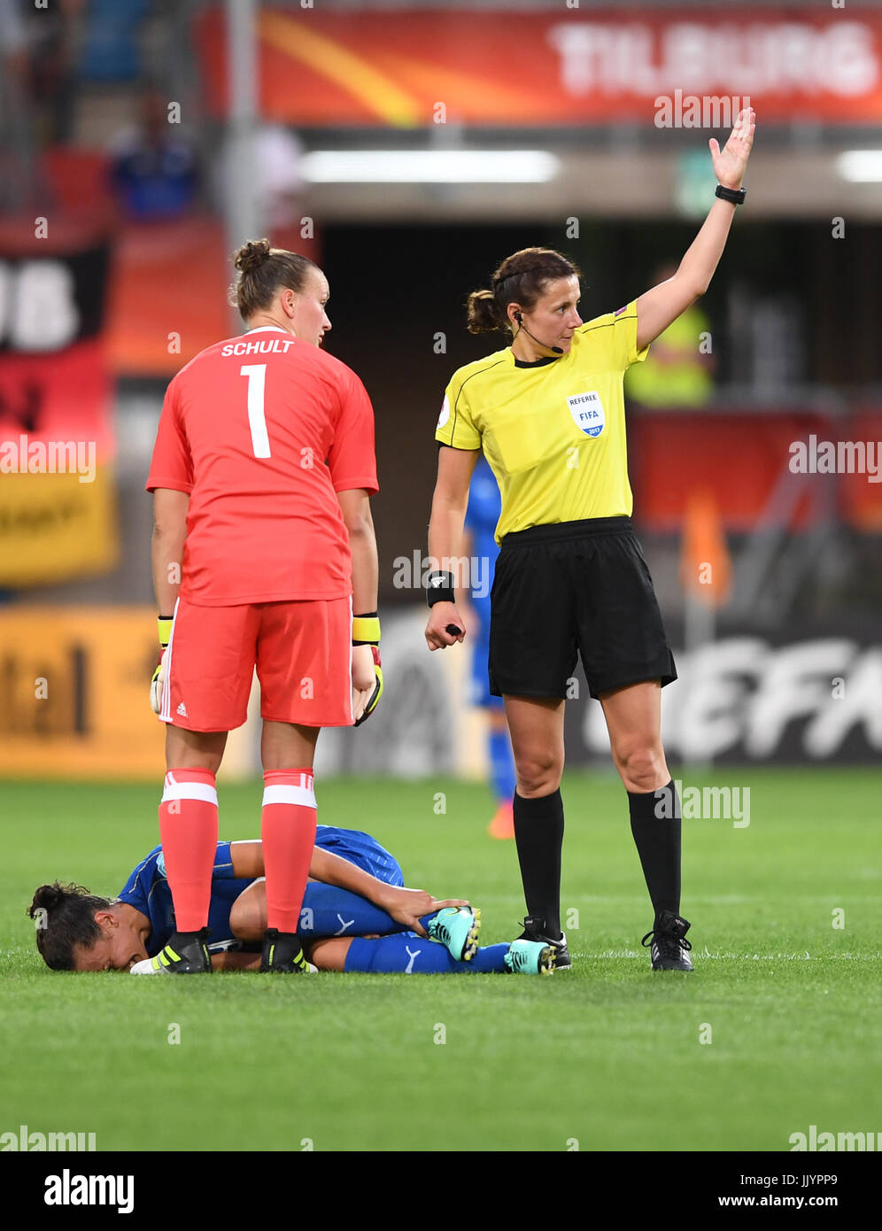 cc8fca72d Ilaria Mauro from Italy lies injured on the ground while German goalkeeper  Almuth Schult and referee Kateryna Monzul look on during the women s  European ...