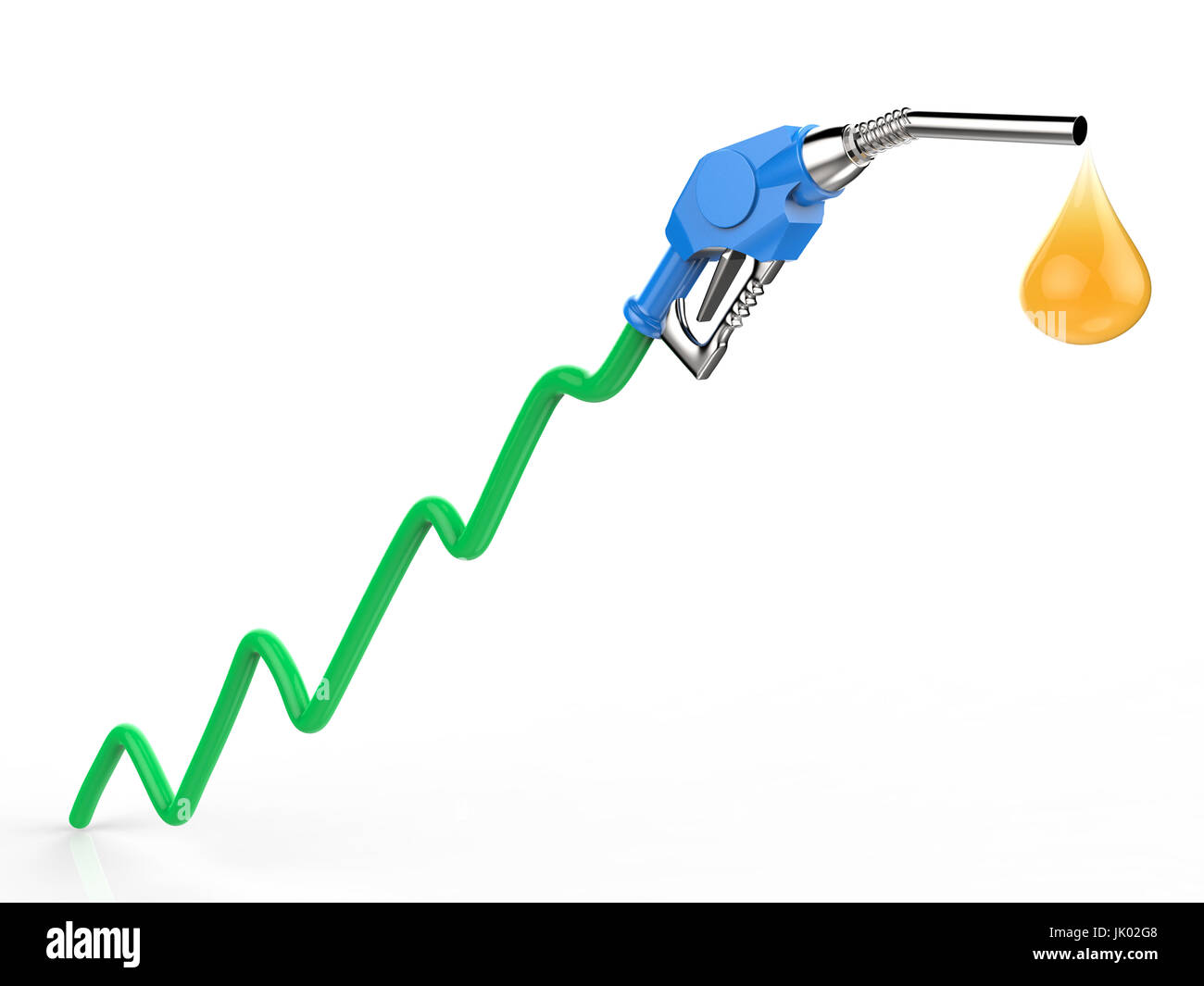 rising oil price with 3d rendering green graph, gas nozzle and droplet of oil - Stock Image