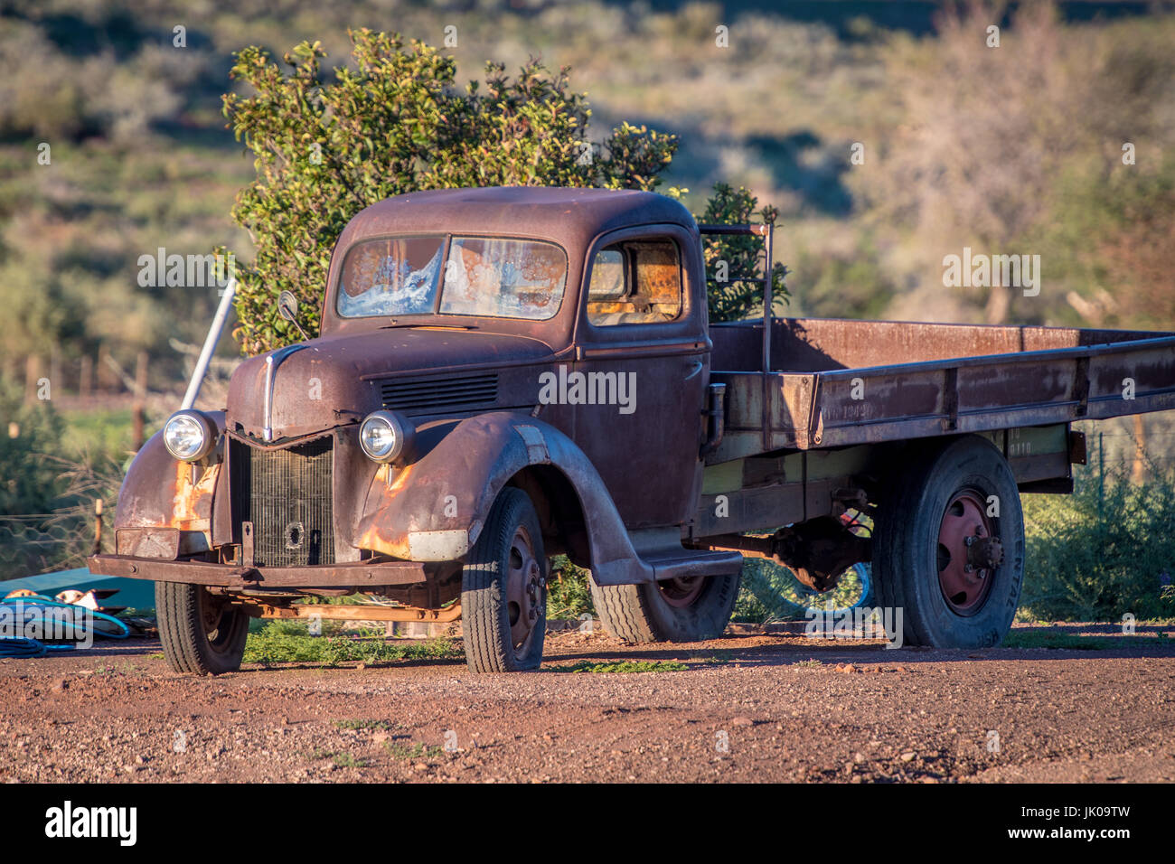 Old fashioned pick up truck model on the Dabis Guest Farm, located ...