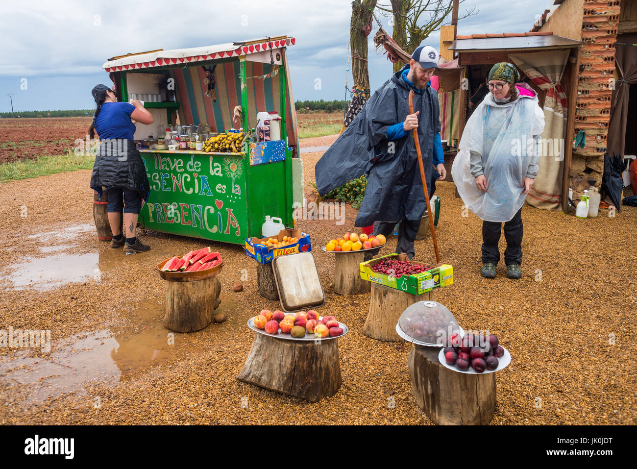 donation hut with fresh food and dring on the way Camoni de santiago, Near of Leon, Spain, Europe. Stock Photo
