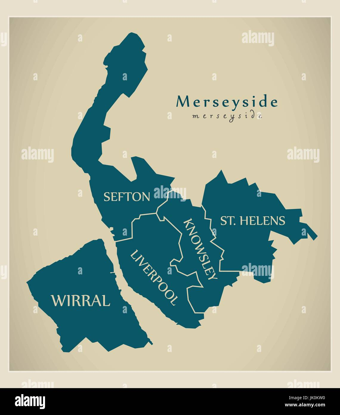 Map Of England Districts.Modern Map Merseyside Metropolitan County Labelled Districts Uk