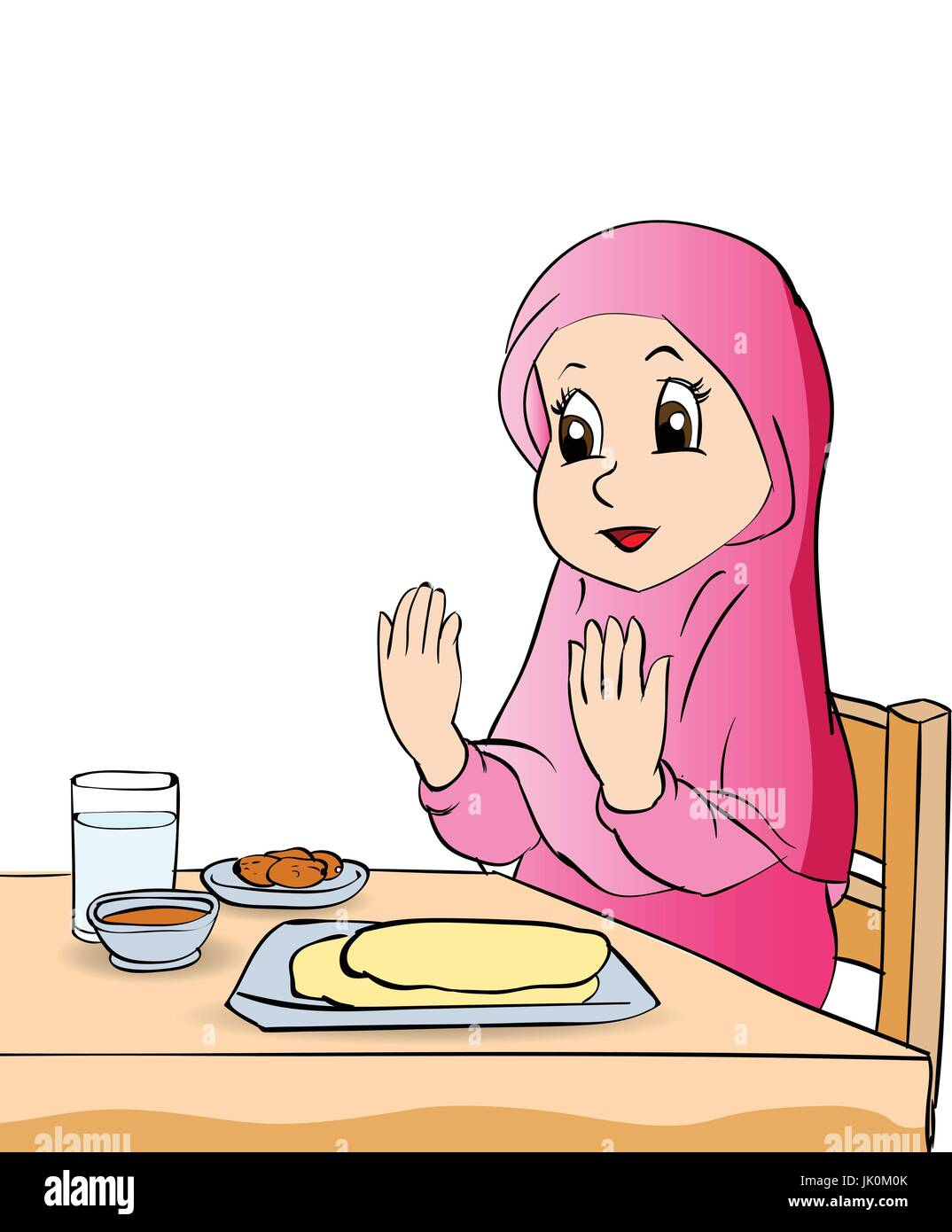 Colorful Cartoon girl make pray before eating on white background , Vector  clipart illustration , Stock