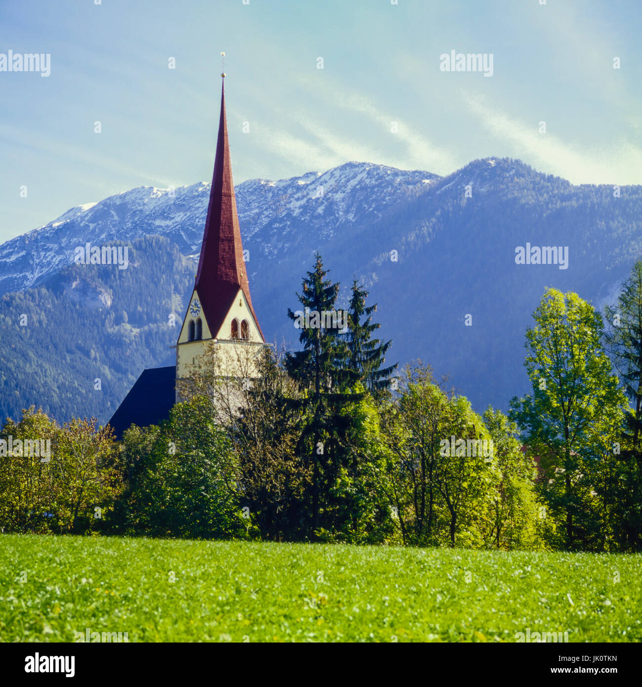 church from achenkirch, Tyrol, before high mountain gebirgspanorama one. church of achenkirch, tyrol in performs - Stock Image