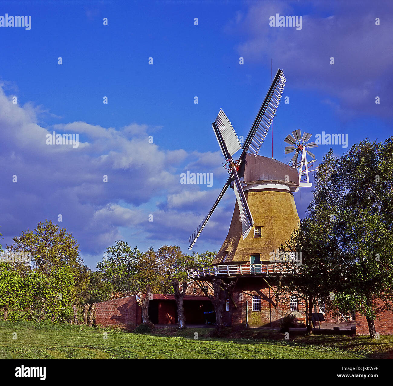 old windmill in bright of the late postmidday sun with departing shower cloudiness. old windmill in late afternoon - Stock Image