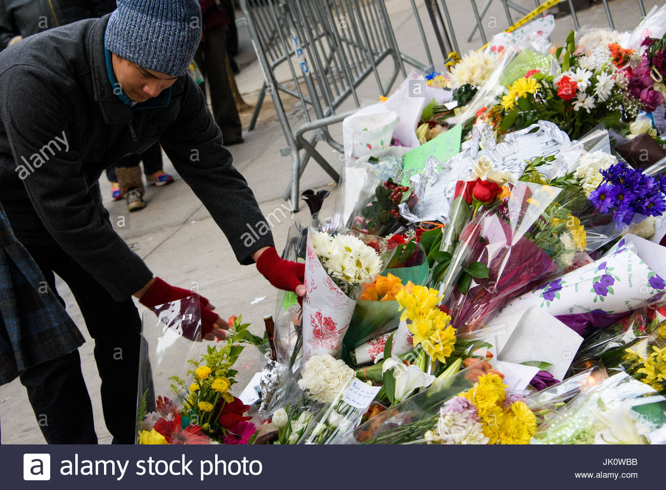 David Bowie Memorial In New York City Fans Leave Flowers At A Stock