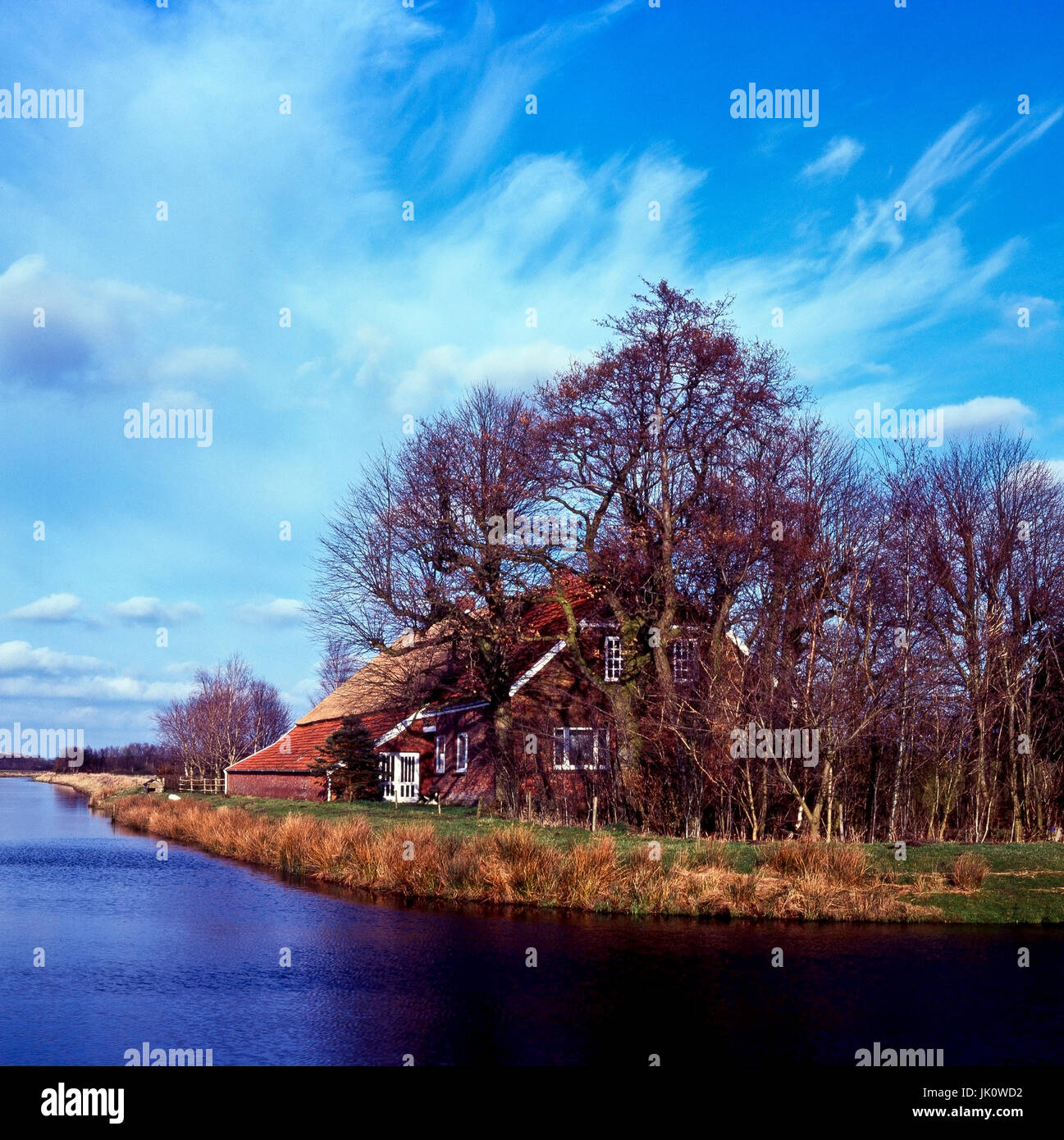 gulfhof in the water in the FLUMM depression. farmhouse in eastern frisia., gulfhof am wasser in der FLUMM-NIEDERUNG. - Stock Image