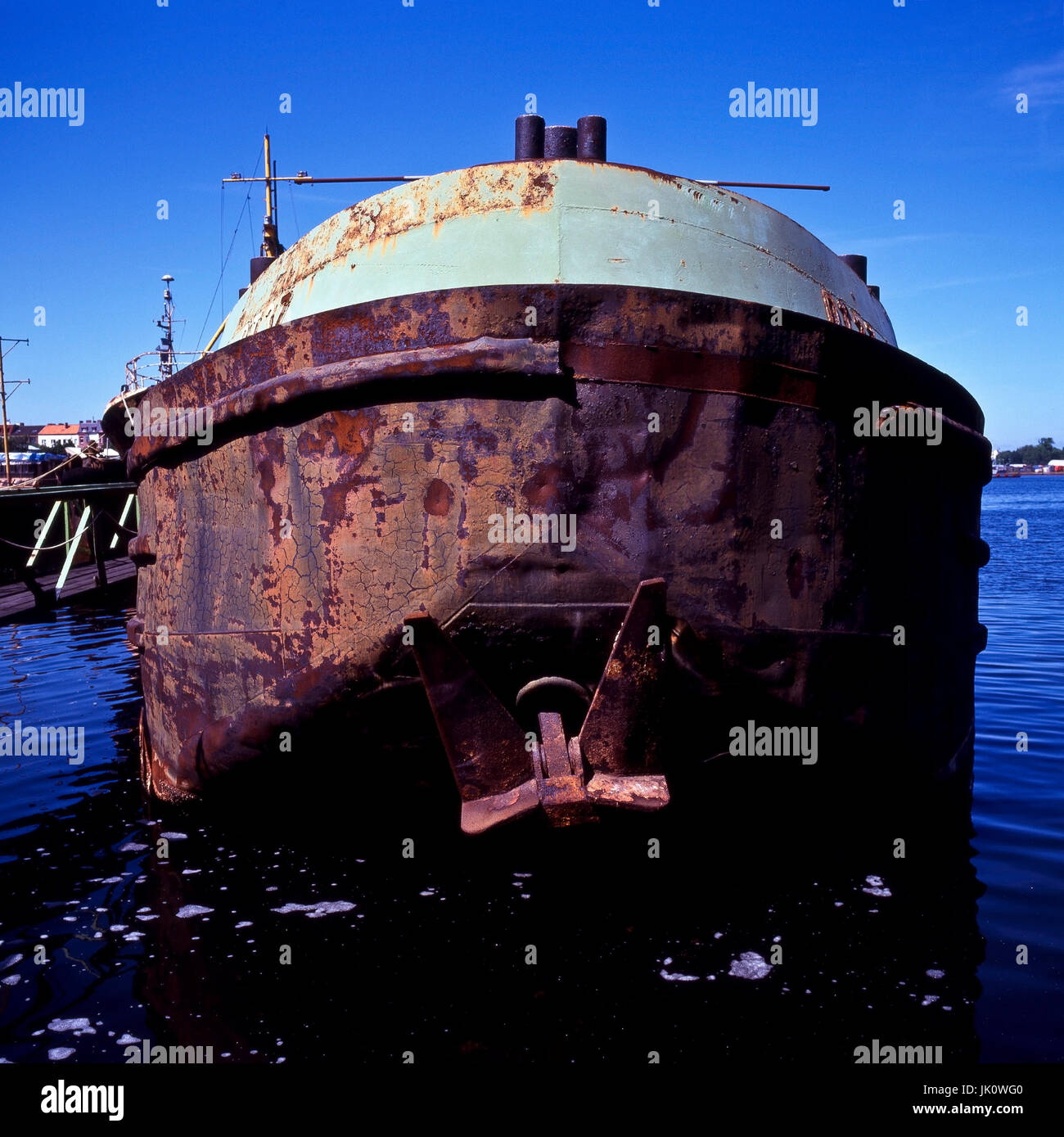 the old, rusted navigate. old and rusty ship., altes, verrostetes schiff. old and rusty ship. - Stock Image