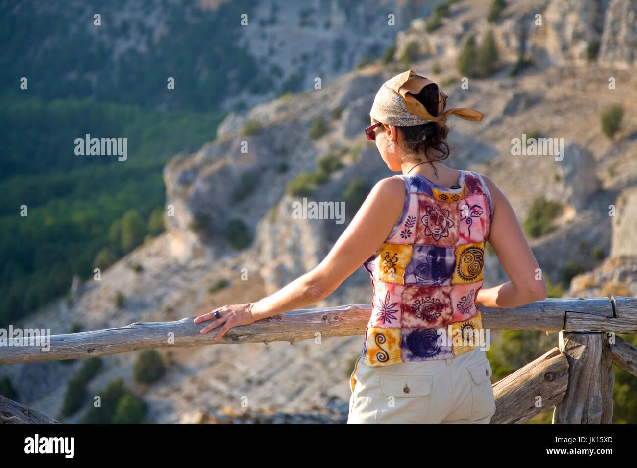 Woman in La Galiana viewpoint. Cañon del  Rio Lobos  Natural Park . Soria province, Castilla y Leon, Spain, - Stock Image