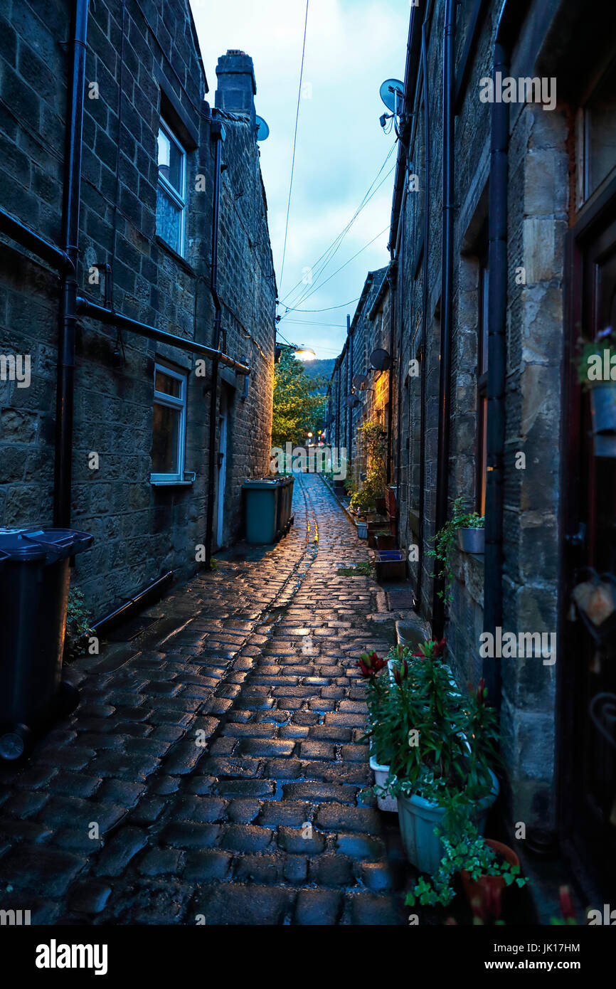 A narrow backstreet in the market town of Otley, Leeds, West Yorkshire - Stock Image