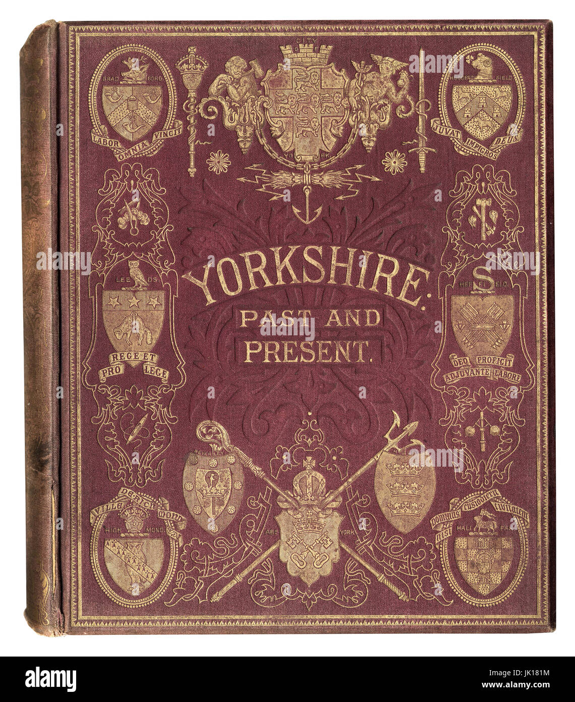 Antique book cover, Yorkshire Past and Present Thomas Baines - Stock Image