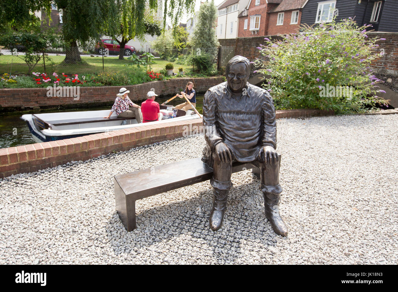 Canterbury,England,UK. Bronze statue of Dave Lee MBE was a British comedian known for his work in pantomimes around - Stock Image