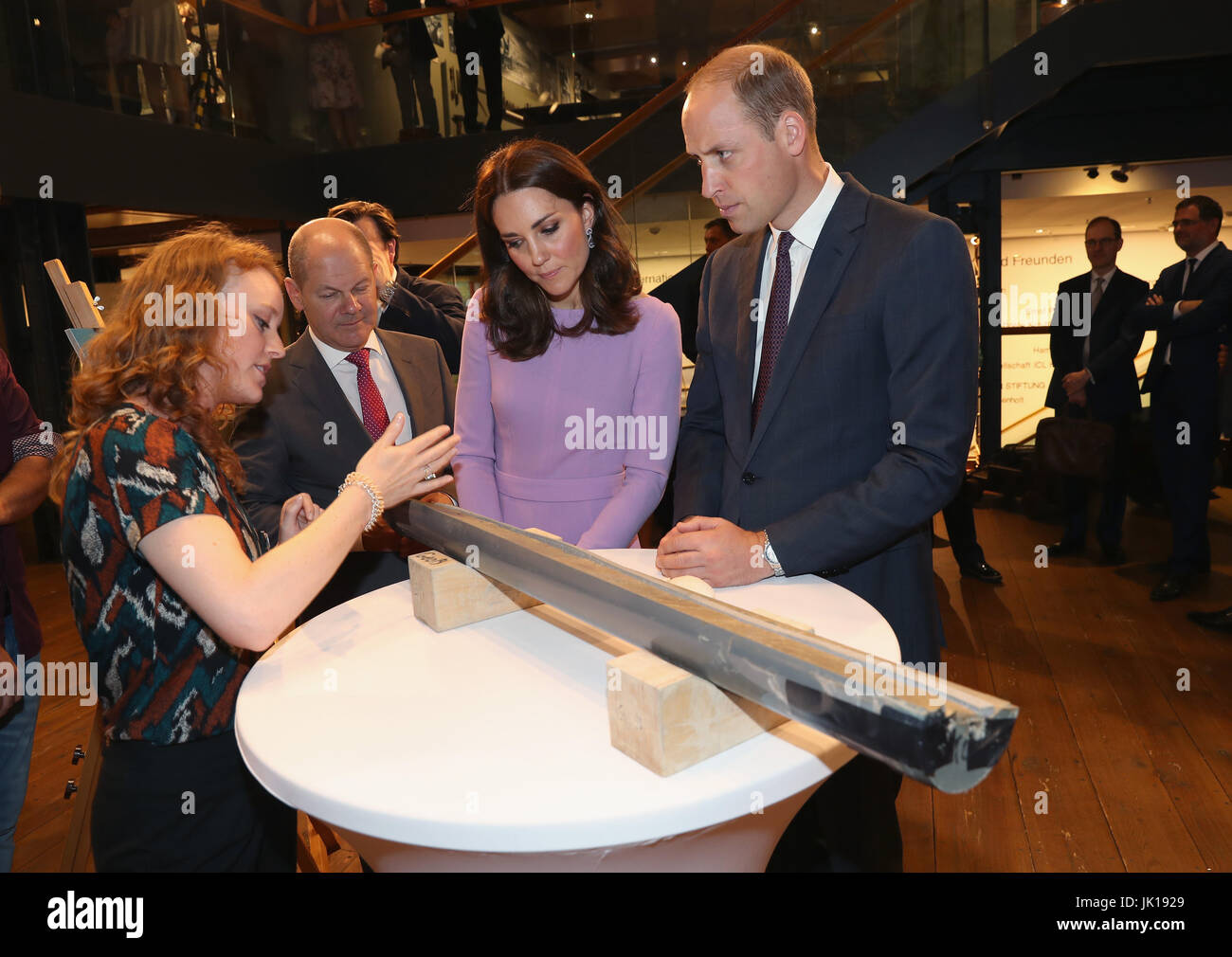 The Duke and Duchess of Cambridge are shown a core sample from under the sea during a visit to the Maritime Museum - Stock Image