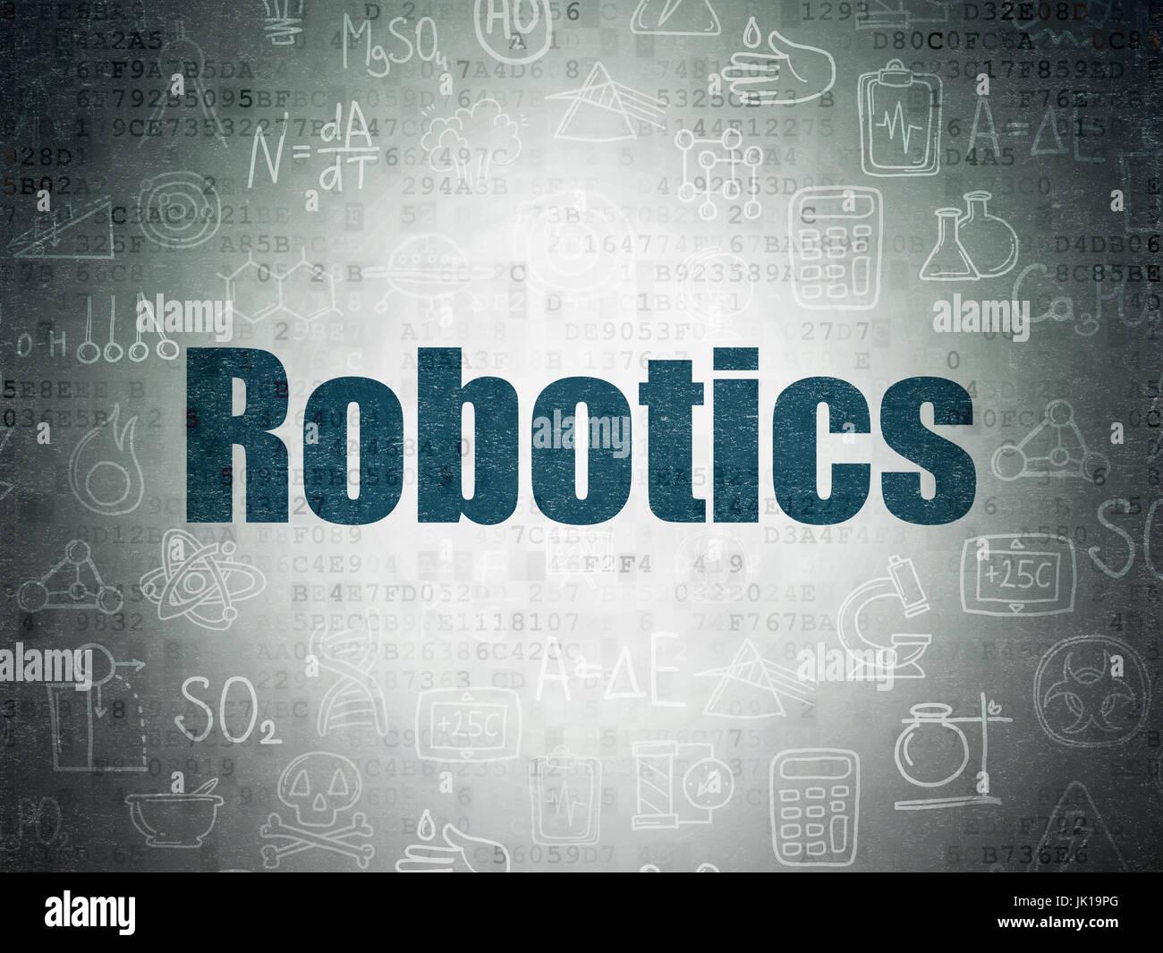 Science Concept Robotics On Digital Data Paper Background Stock