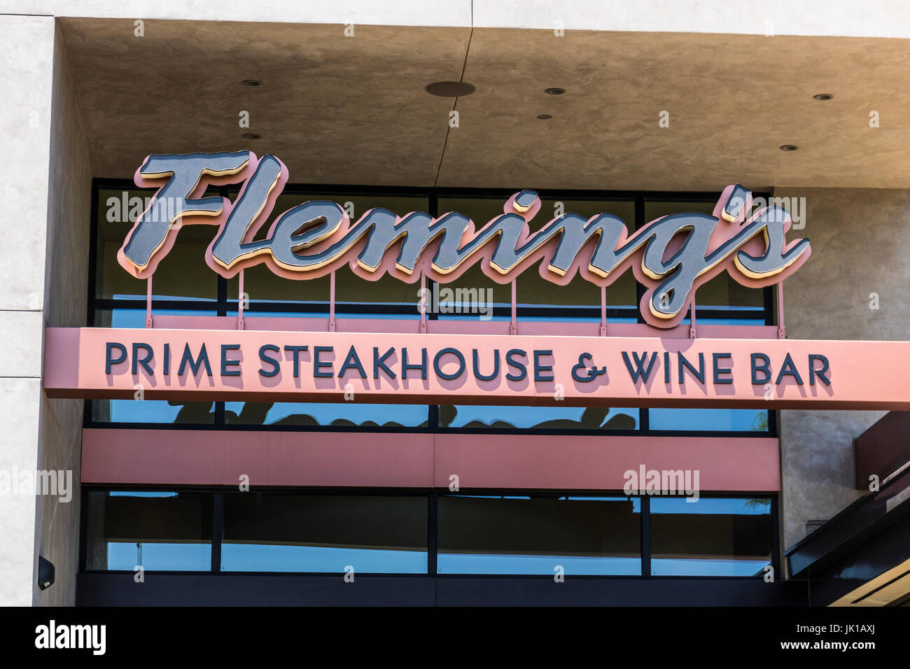 Las Vegas - Circa July 2017: Fleming's Prime Steakhouse and Wine Bar. Fleming's is an American steakhouse - Stock Image