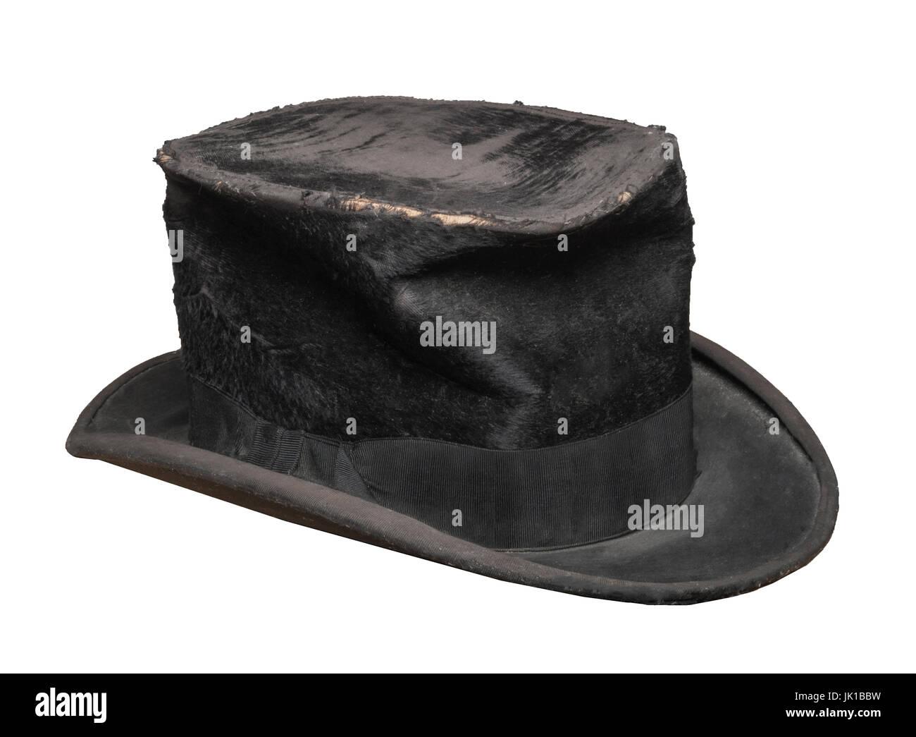 Old Black Top Hat - Stock Image